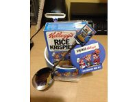 Vintage Kelloggs Rice Krispies Mug/Bowl set. Inc Spoon and cereal (out of date)