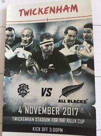 2x All blacks vs barbarians tickets 4th November twickernham stadium