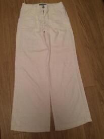 Fat Face white linen trousers size 8R