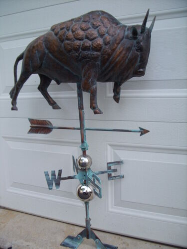 Bison 3D Weathervane Buffalo Weather Vane Hand Crafted Copper Patina Finish