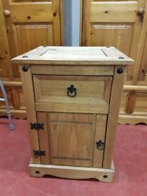 Mexican pine bedside cabinet with one drawer over cupboard, great condition