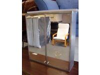 Grey Metal Bathroom Cabinet with Mirror Doors