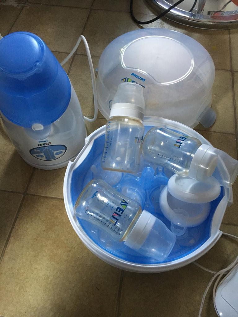 Philips Avent baby bottles, bottle warmer, microwave bottle styliser stylizer