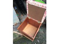 Square storage box with upholstered top - vintage teak by Homeworthy
