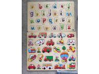 Preschool/Toddler Large Wooden Peg Puzzles x2