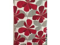 "Next red floral curtains 91"" drop"