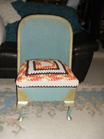 LOOM TYPE CHAIR WITH UNDER SEAT STORAGE, BLUE / GOLD, WITH CROCHET SEAT COVER