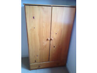 Kids wooden wardrobe W87cm, H139cm, D50cm. Used but good condition. Hanging rail and one drawer.