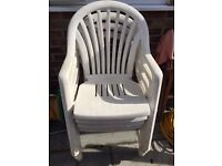 4 White Plastic Stackable Garden Patio Chairs