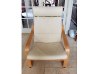 Ikea Poang cream leather armchair.