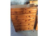 Large pine chest of drawers and small pine chest if drawers