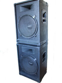 "Pair of Powerful Eminence 350W 8 Ohm 15"" Bass Reflex & Horn PA Cabinets - Fully Working."