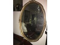 Beautiful Large Ornate Gilt Carved Antique Oval Mirror Gilt Frame