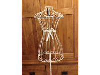 Small Shabby Chic White Metal Frame/Dress Stand/Clothes Hanger