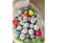 Golf Balls Mixed Bundle x 55 Gold Balls, Lot 1, Titleist, Srixon, Nike, Wilson Etc