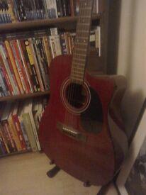 Westfield deep red acoustic guitar
