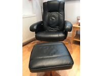 2 Black Faux Leather Recliners + 2 Foot Stools