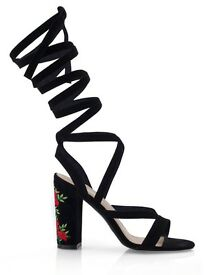 New Womens Shoes Ladies Heels Strappy Embroidered Heel Sandals UK Sizes