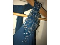 Mark Lesley Teal Petrol Blue Green bridesmaid Formal Prom dress