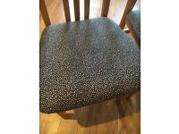 6 black and silver spotted kitchen chairs and beech table