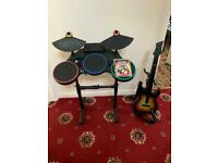 Guitar hero world tour ps3 drums & guitar *SPARES OR REPAIRS*