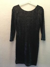 TFNC 3/4 Sleeve Black Sequin Bodycon Deep Back Party Club Mini Dress Size 12 M
