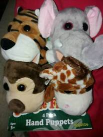 Set of 4 Kelly Toy hand puppets including Puppy Friends and Jungle Friends. Age 3+