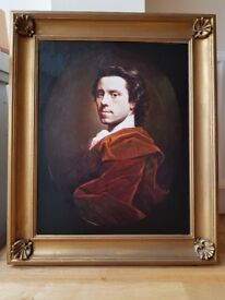 Allan Ramsay self-portrait oil on canvas, C.1737-1739 Framed Oleograph print