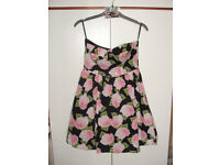 Black/pink flowers skater dress by BeBeau, fully lined, removable straps, size 10 as new (cost £22)