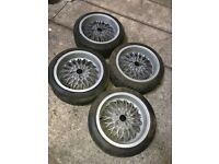 RH 15 inch 7j 4 x 100 deep dish alloy wheels with tyres vw seat polo golf lupo ibiza BBS etc