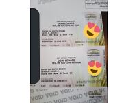 REDUCED TO GO 2 sitting demi Lovato tickets 13th June Glasgow