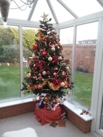 6 ft Xmas Tree plus lights and decs
