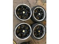 "17"" WOLFRACE ALLOY WHEELS ASTRA, CORSA, CLIO, MAGANE, CIVIC, MINI MICRA SWIFT SET OF 4"