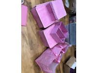 Pink polka dot storage boxes/bags