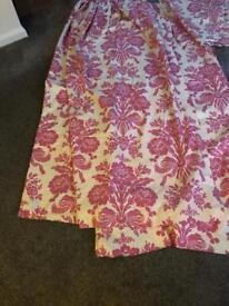 Laura Ashley pink tatton 82 inch x 90 inch wide drop curtains