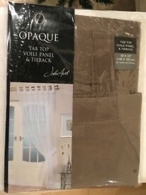 Voiles, 11 tab top panels with tiebacks, colour mocha, plus long length of curtain wire.