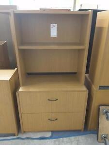 Two drawer lateral filing cabinet with hutch