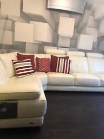 Cream leather sofa from Sofology