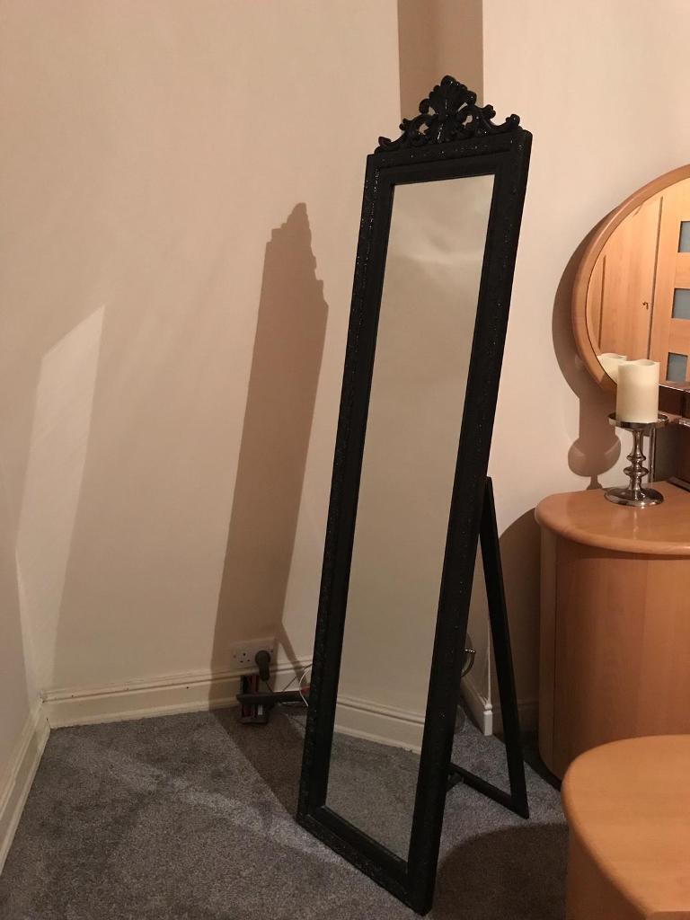 658a2405b6986 Black Baroque Orante style mirror   free standing mirror