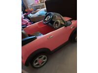 Pink mini cooper electric ride on toy