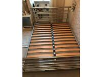 Sturdy metal double bed, great condition, low price for quick sale (open to offers)