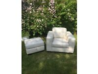 Cream leather chair (brandnew) with matching footstool (used)