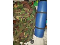 British Army bag bergen full size and camping mat.