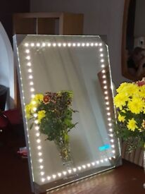 Fantasia Border LED Mirror with built-in FM radio & MP3 player