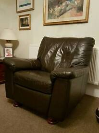 Brown Leather Recliner (Electric)