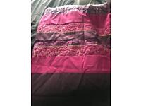 Curtains, throw bedspread and two cushions