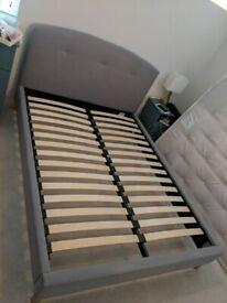 delivery modelnJlp3r double bed John Lewis Grace Upholstered fabric Frame Topaz Grey smart slats