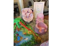 Job lot baby girl stuff bouncer , bumbo , rain forest gym someone on tight budget fab condtion