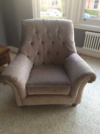 As new Laura Ashley velvet chesterfield chair - absolutely perfect condition