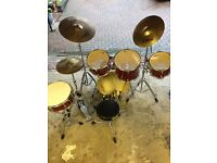 Mapex M-Series drum set and Zildjian cymbals